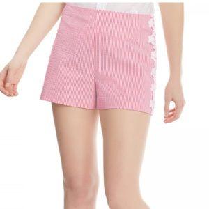Draper James Pink Seersucker Lace Short